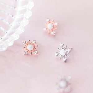 Wholesale Cute silver Opal earring female Snow Round Clear Zircon Stud Earrings for women Sweet Girl Charm Jewelry Accessories