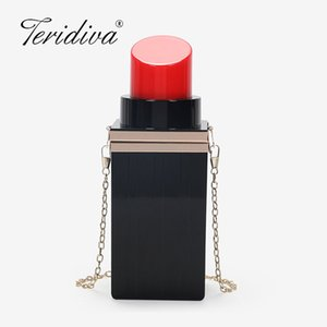 Wholesale Hot Sale Women Acrylic Black red Lipstick Shape Evening Bags Purses Clutch Vintage Banquet Handbag day clutches