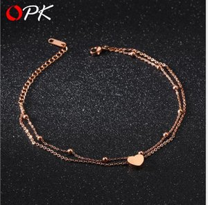Korean fashion double-deck Titanium steel peach beloved foot chain beach footchain on Sale