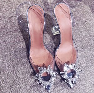 Wholesale Summer Woman Pointed Toe Jelly Shoes Fashion New Brand Shining Rhinestone Lady Wedding Party High Heel Sandals