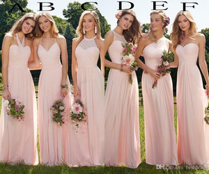 Wholesale blush bridesmaids dresses resale online - 2019 Cheap Blush Long Bridesmaid Dresses Summer Boho Chiffon Bridesmaid Dress for Beach Prom Party Ruffles Wedding Guest Gowns Custom Made