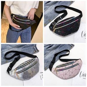 Wholesale 3styles laser waist bag line Shoulder bags women handbags outdoor travel lady crossbody cute purse storage chest pack FFA2739