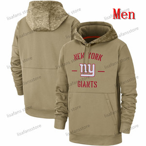 Mens Women Youth New York Khaki 2019 Salute to Service Sideline Therma Pullover Hoodie Giants Printed Any Name Number Pullover Sweatshirts T
