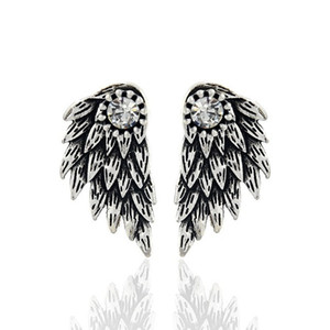 20pcsGothic Silver Color Angel Wings Alloy Stud Cool Black Feather Earrings For Women Men Fashion Jewelry C19041101 on Sale