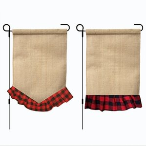 Wholesale Plaid Garden Flag Monogram Ruffle Yard Flags Burlap Wedding Hanging Flag Party Garden Decorations Designs LYW1816