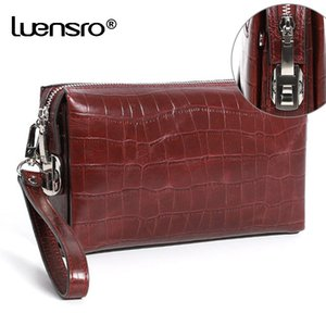 Luensro Men Wallets Coded Lock Genuine Leather Zipper Long Wallet With Password Protection Clutch Bag Anti-theft Male Wallet MX190720