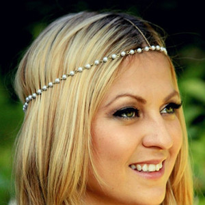 Wholesale ashion Hair Jewelry Metal Punk Forehead Headband Gold Multi Layer Indian Boho Head Chain Pearl Headpiece Trendy Hair Accessories Jewelry