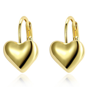 Simple Exquisite Earrings Forever Love Heart Pattern Fashion K Gold Clip-on & Screw Back Earring Accessories Classic Birthday Gift POTALA167
