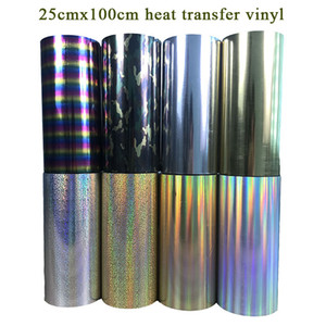 Free shipping 1 sheet 25cmx100cm hologram Heat Transfer Vinyl Heat Press Machine T-shirt Iron On HTV Printing
