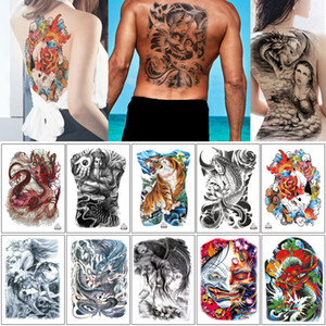 48*34cm MB Big Large Full Back for Woman Man Temporary Tattoo Dragon Fish Devil Beauty Buddha Tiger Sticker Waterproof Body Chest Art Tattoo