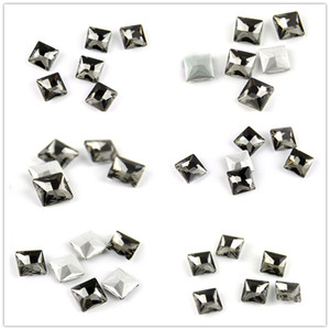 Various Sizes Square Gray Fancy Stone Flatback Sewing Colored Stones Sewing Crafts Accessories for Bags Clothes DIY