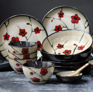 Wholesale High Quality China Ceramic Porcelain Red Plum Tableware Household Dinner Set Ceramic Plate Deep Dish Soup Rice bowl Small Soy Sauce Dish