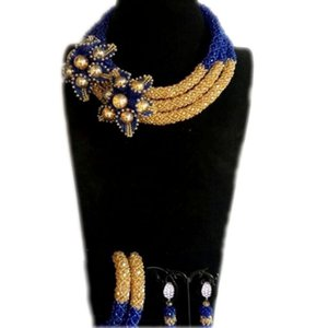 Wholesale Flower Jewelry Set Gold Royal Blue Crystal Braid Bracelet Earrings Necklace Set Layers African bridal Jewellery Free Ship