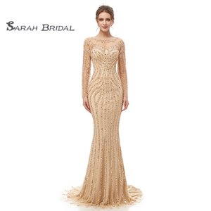 Wholesale Elegant Vintage Long Sleeves Maxi Dress Sheath Bridal Dresses Sheer Back Beads Crystal Bride Gowns Wedding Dress Prom Evening Wear 5405