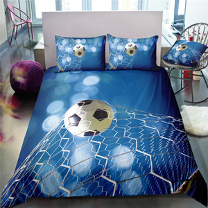 Blue Football Series Bedding Set for Boys Refreshing 3D Duvet Cover Cool King Home Dec Queen Single Double Bed Cover with Pillowcase on Sale