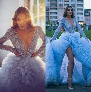 Sky Blue Long Sleeve High Low Evening Pageant Dresses 2020 Sparkly Crystal Beaded Top Ruffles Train Arabic Prom Formal Dress on Sale