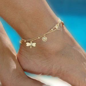 Wholesale Free DHL Bohemian Anklet Bracelet Summer Beach Foot Jewelry Butterfly Dragonfly Gold Anklets Women Barefoot Sandals Ankle Styles M043F