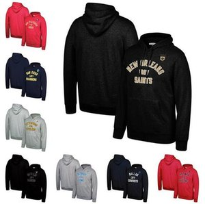 Wholesale Men Falcons Dolphins Chargers Cowboys Bears Mitchell Ness Classic Team Pullover Hoodie Black Gavy Red
