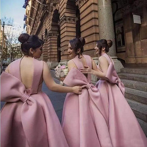 Wholesale blush bridesmaids dresses resale online - Bridesmaid Dresses Unique Design Blush New Big Bow Puffy Ankle Length Satin Wedding Guest Gowns Junior Maid Of Honor Dress Cheap Custom