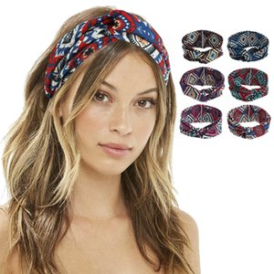 Wholesale knots for ties resale online - Lady Girl Prismatic Headband With Knot Flower Printed Bohemia Hair Band Accessory Fashion For Women Elastic Ins Hair Cross Tie