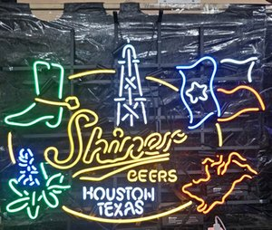 Wholesale Shiner BEERS HOUSTON TEXAS Led Neon Sign Lamp Light Outdoor Display Entertainment Decoration Neon Lamp Light Metal Frame