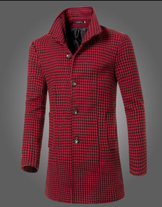 Fashion 2016 New winter Men's clothing brand long section collar houndstooth woolen coat men Casual Slim Fit jacket Trench