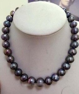 "New Fine pearl jewelry Stunning 8.5-9.5mm round tahitian huge black red green pearl necklace 18"" 14kGP"