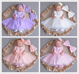Wholesale 1pc baby girl baptism gown christening dress Big Bow Wedding Lace Flower Princess Dress Infant Pleated full moon birthday Prom Party Dress