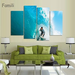 Wholesale group abstract art framed resale online - 4Pieces set Printed Surfing Group Painting Wall Art Children S Room Decor Print Poster Picture Canvas Painting No Frame
