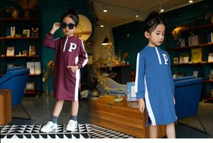 Wholesale Girl Dress Autumn Spring Princess Korean dress Cotton Letter Pattern Top black Round neck Children s clothing