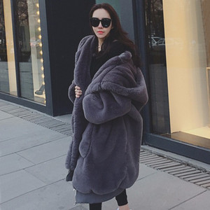 Wholesale Autumn And Winter New Pattern GIGI With Fund Imitate Rabbit s Long Fund Even Loose Coat Leather And Fur Overcoat Woman