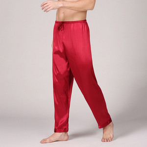 2019 New Mens Silk Satin Pajamas Solid Color Summer Sleep Bottoms Lounge Pants Sleep Bottoms Summer Sleepwear Homewear