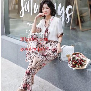 2019 Spring Women Clothes Two Piece Outfits Summer Fashion women wide leg pants Light and soft Quality Women Tracksuit 2 Piece