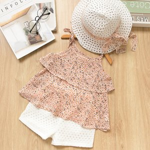 New baby Girls Clothing Sets 2019 Summer Kids Clothes Floral Chiffon Halter+Embroidered Shorts Straw Children Clothing