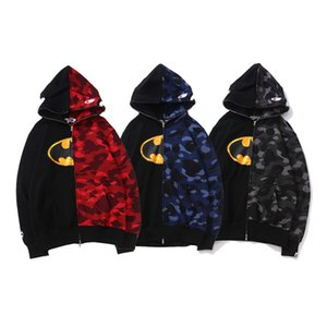 Wholesale New Arrival Lover s Black Red Camo Splice Hooded Sportswear Sweatshirts Men Women Cartoon Print Cotton Hip Hop Hooded Sweater Hoodies