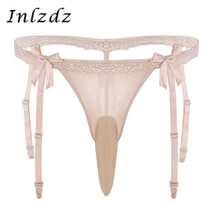 Wholesale Sissy Panties Closed Open Penis Sheath Mens Low Rise Ruffle Lace Bikini Lingerie Briefs Open Back Stretch Sissy Thong Underwear