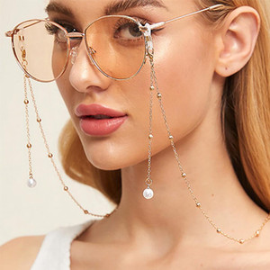 Wholesale DSstyles Pearl non slip glasses chain Fashion Woman Sunglasses Chain Pearl Pendant Anti falling Glasses Eyeglass Cord Necklace