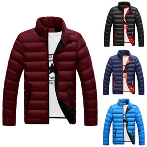 Men Winter Warm Coat Stand Collar Light Outerwear Jacket Casual Overcoat Parka