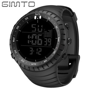 Wholesale digital watch stopwatch resale online - GIMTO Large Digital Watch Men Sports Watches For Running Stopwatch Waterproof Militar LED Electronic Wrist Watches Men Gift LY191213