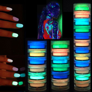 Wholesale neon nail resale online - Glow in the Dark Nail Powder Colors Nail Sculpture Acrylic Crystal Powder Neon Florescent Dipping Luminous Powder set