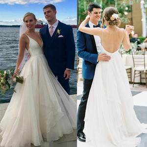 Wholesale 2020 Boho Beach Wedding Dresses Simple Deep V Neck Cheap Spaghetti Straps Tiered Skirt Satin Organza Backless Wedding Gown vestido de novia