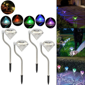 estacas de decoración al por mayor-Al aire libre LED Solar Powered Lamp Garden Stake Linternas Lámparas LED Diamond Césped Luz Camino Decoraciones de jardín LJJA2437