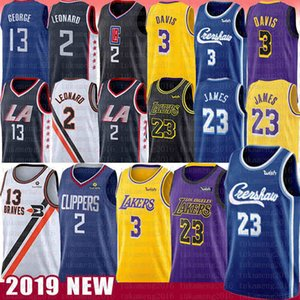 Wholesale Kawhi NCAA 2 Leonard Jersey LeBron 6 James Anthony 23 Davis Paul 13 George 2019 New Mens Embroidery University Basketball Jerseys