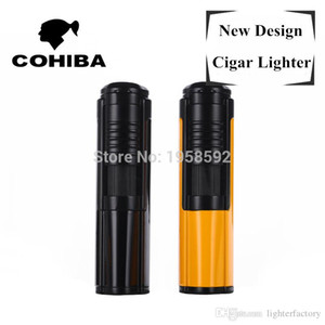 New Arrival COHIBA Metal Wire Drawing Pocket Single Windproof Jet Flame Cigar Lighter Torch Lighter with Original box