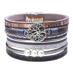 Wholesale 2020 Women Jewelry Boho Style Leather Cuff Bracelets Multilayers Wrap Hollow Tree of Life Coin Pearls Wide Bracelet Bangle Wristband M589F