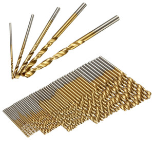 Wholesale hss drill bits sets resale online - 50PCS HSS Titanium Coated Twist Drill Bits High Speed Steel Drill Bit Set