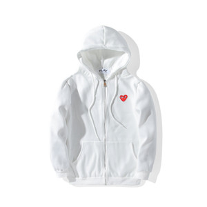 Wholesale Mens designer jackets CDG play hoodie shirt off red heart white comm des cotton garcons hood casual windbreaker jackets winter coats