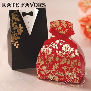 Wholesale 100Pcs Wedding Favor Candy Box Bride Groom Dress Tuxedo Candy Gift Boxes With Ribbon Wedding Party Favor Ribbon Gift Blace Red