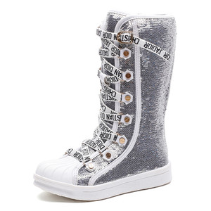 Wholesale Sequins Pu leather boy child waterproof shoes kids breathable snow boots girls children rubber bottom fashion winter boots baby