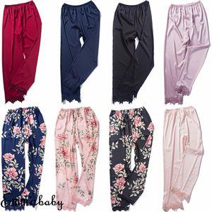 Women Silk Satin Pajamas Sleepwear Nightwear Loungewear Homewear Ankle Length Pants Floral Print Ladies Clothes